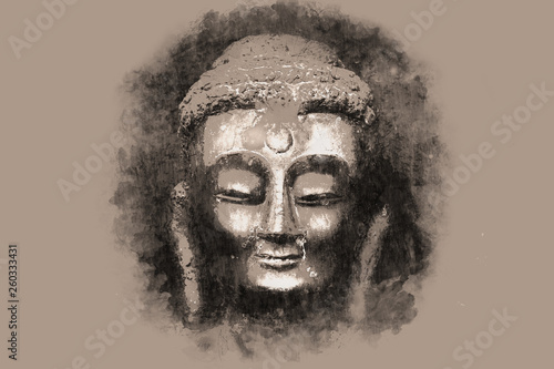 Carta da parati Pencil illustration. The Buddha's face