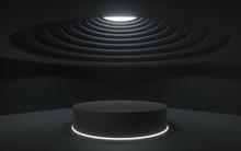 3d Render,black Abstract Backg...