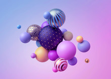 3d Render, Abstract Pastel Bal...