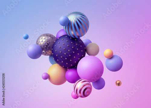 Fototapeta 3d render, abstract pastel balls, pink blue balloons, geometric background, mult