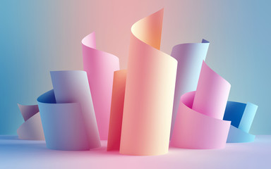 3d render, paper ribbon rolls, abstract shapes, fashion background, swirl, pastel neon scrolls, curl, spiral, cylinder