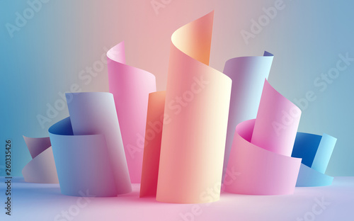 Fototapeta 3d render, paper ribbon rolls, abstract shapes, fashion background, swirl, pastel neon scrolls, curl, spiral, cylinder obraz