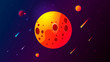 Cartoon picture with space. Vivid colors, and a variety of scales