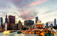 The Chicago Skyline Behind Buckingham Fountain