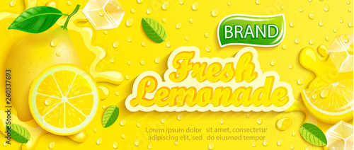 Valokuvatapetti Fresh lemonade with lemon, splash, apteitic drops from condensation, fruit slice, ice cubes on gradient yellow background for brand,logo, template,label,emblem and store,packaging,advertising