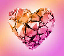 3d Render, Broken Pink Crystal Heart Isolated On Pastel Background