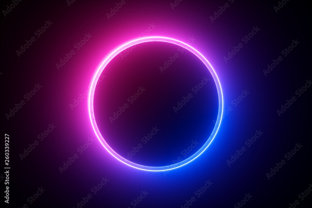 Fototapety, obrazy: 3d render, blue pink neon round frame, circle, ring shape, empty space, ultraviolet light, 80's retro style, fashion show stage, abstract background