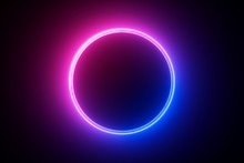 3d Render, Blue Pink Neon Round Frame, Circle, Ring Shape, Empty Space, Ultraviolet Light, 80's Retro Style, Fashion Show Stage, Abstract Background