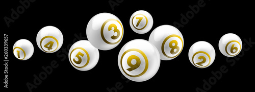 Vector shiny white lottery / bingo ball number from 1 to 9 isolated on black bac Wallpaper Mural