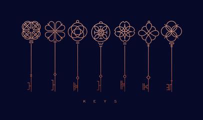Moderna kolekcija grafičkih ključeva plava