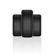 Realistic car tire with soft shadow. Vector.