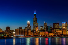The Chicago Skyline At Night