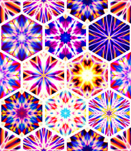 Abstract Mosaic Of Caleidoscopes. Hexagonal Image Structure.