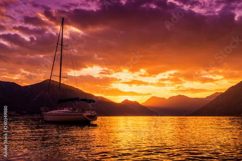 Foto auf Leinwand Kastanienbraun Sunset view of Kotor's bay, Montenegro.
