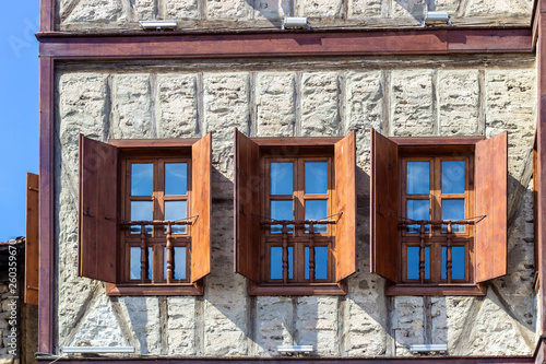Carta da parati  Unfinished facade shoot of wooden stone masonry traditional turkish house in Saf