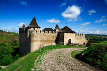 Ancient Fortress In Khotyn, Fortification On Dniester River. Famous Castle In West Ukraine.