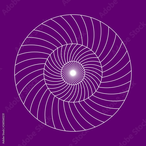 Recess Fitting Spiral Twirling spin circle. Circular geometric pattern with moving effect of rotation. Optical symbol with stroked lines on color background.