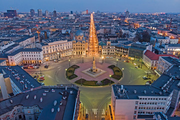 Panel Szklany Miasta Łódź, Poland -view of Freedom Square.