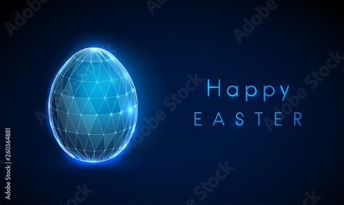 Foto  Abstract egg. Vector low poly style design.