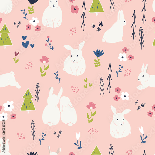 Poster Hibou Cute rabbits and flowers seamless pattern. Spring and easter theme seamless background for nursery, baby and kids products, fabric, stationery, textile