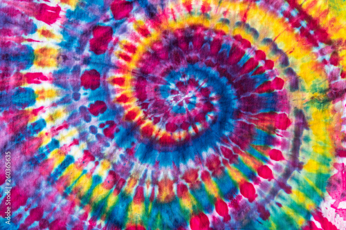 Fotografie, Obraz  Bright Colorful Abstract Psychedelic Tie Dye Swirl Design Pattern