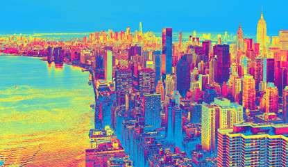 Fototapeta Do salonu Aerial view of the New York City skyline near Midtown funky gradient