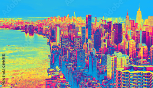 Fototapeta Aerial view of the New York City skyline near Midtown funky gradient obraz