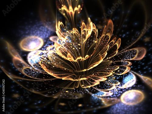 Obraz Golden fractal flower, digital artwork for creative graphic design - fototapety do salonu