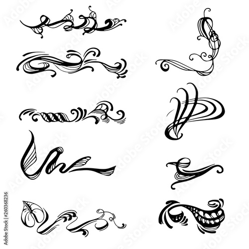 Obraz na plátne Vector collection of decorative oriental and classical elemnts made in hand drawn style