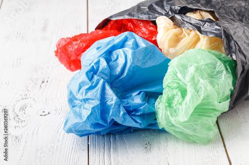 Cuadros en Lienzo plastic bag for shopping on rustic background