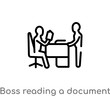 outline boss reading a document vector icon. isolated black simple line element illustration from business concept. editable vector stroke boss reading a document icon on white background