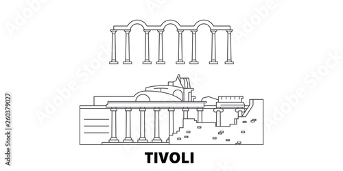 Tablou Canvas Italy, Tivoli, Villa Adriana flat travel skyline set