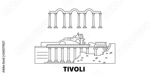 Canvas-taulu Italy, Tivoli, Villa Adriana flat travel skyline set