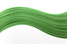 Piece Of Beautiful, Shiny, Green Hair On White Isolated Background. Wavy Shape. Modern Hair Color Ideas