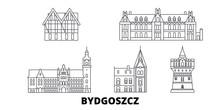 Poland, Bydgoszcz Flat Travel Skyline Set. Poland, Bydgoszcz Black City Vector Panorama, Illustration, Travel Sights, Landmarks, Streets.