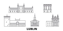 Poland, Lublin Flat Travel Skyline Set. Poland, Lublin Black City Vector Panorama, Illustration, Travel Sights, Landmarks, Streets.