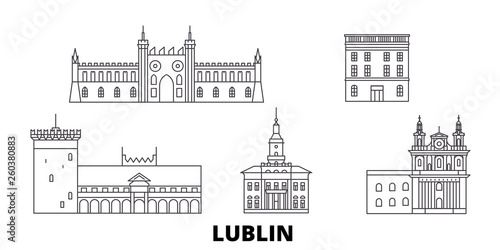 Obraz Poland, Lublin flat travel skyline set. Poland, Lublin black city vector panorama, illustration, travel sights, landmarks, streets. - fototapety do salonu