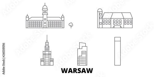 Fototapeta Poland, Warsaw City flat travel skyline set. Poland, Warsaw City black city vector panorama, illustration, travel sights, landmarks, streets. obraz