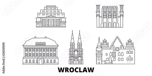 Poland, Wroclaw flat travel skyline set Fototapeta