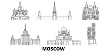 Russia, Moscow Flat Travel Skyline Set. Russia, Moscow Black City Vector Panorama, Illustration, Travel Sights, Landmarks, Streets.