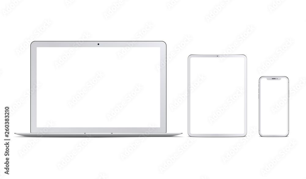 Fototapeta Set of white devices: laptop, tablet and phone. Vector - obraz na płótnie