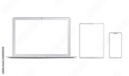 Fototapeta Set of white devices: laptop, tablet and phone. Vector obraz na płótnie