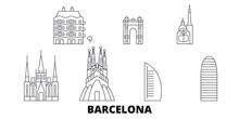 Spain, Barcelona City Flat Travel Skyline Set. Spain, Barcelona City Black City Vector Panorama, Illustration, Travel Sights, Landmarks, Streets.