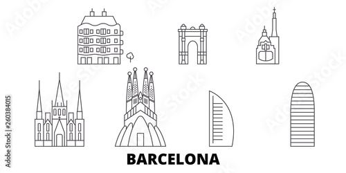 Spain, Barcelona City flat travel skyline set. Spain, Barcelona City black city vector panorama, illustration, travel sights, landmarks, streets.