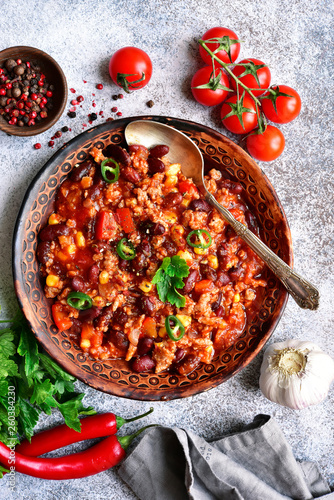 Chili con carne - minced meat stew with red bean and tomato Canvas Print