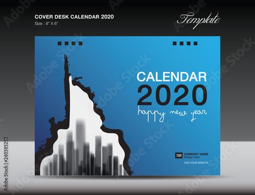 Cover Desk Calendar 2020 Design, flyer template, ads, booklet