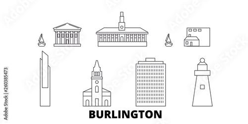 Fototapeta  United States, Burlington flat travel skyline set
