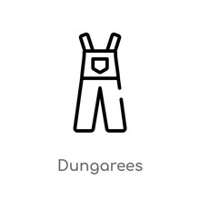Outline Dungarees Vector Icon....