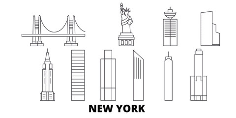 United States, New York City flat travel skyline set. United States, New York City black city vector panorama, illustration, travel sights, landmarks, streets.
