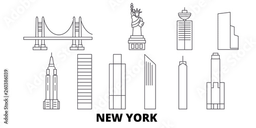 Fotografia  United States, New York City flat travel skyline set